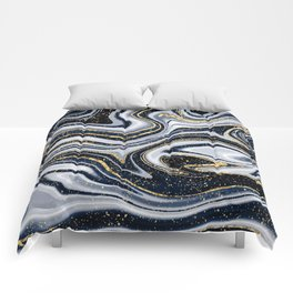 Grey,black and gold marble Comforters