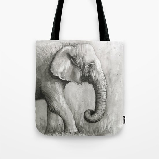 Elephant Black and White Watercolor Animals Tote Bag