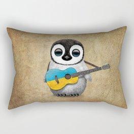 Baby Penguin Playing Ukrainian Flag Guitar Rectangular Pillow