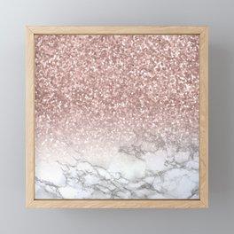 Sparkle - Glittery Rose Gold Marble Framed Mini Art Print