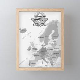 Vintage Black and white Europe poster Framed Mini Art Print