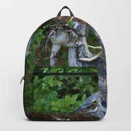 Great_Blue_Heron Catching Huge Frog - 2 Backpack