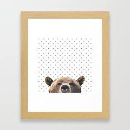 Bear - Gray Dots Framed Art Print