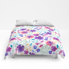 Colouful Watercolour Floral Pattern Comforters