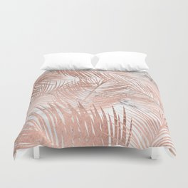 Tropical modern faux rose gold palm tree leaf white marble pattern Duvet Cover