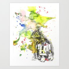 C3PO and R2D2 from Star Wars Art Print