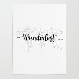 Wanderlust geometric world map Poster