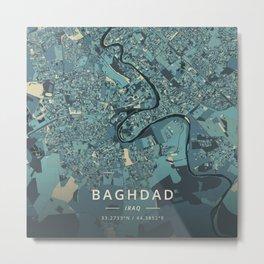Baghdad, Iraq - Cream Blue Metal Print