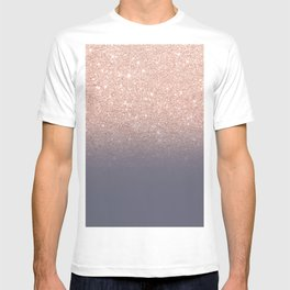 Modern faux rose gold glitter ombre gradient on purple grey T-shirt