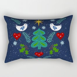 Christmas Winter holidays folk art illustration design Rectangular Pillow