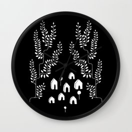 Line Vine Village Line Art Illustration in Black Wall Clock