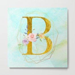 Gold Foil Alphabet Letter B Initials Monogram Frame with a Gold Geometric Wreath Metal Print