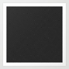 Black and White Random Diagonal Lines Grid Art Print