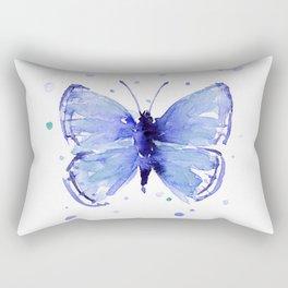 Dark Blue Butterfly Watercolor Rectangular Pillow