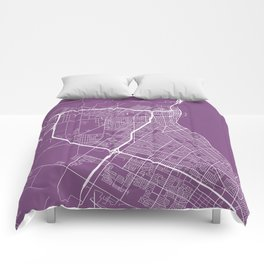 Corpus Christi Map, USA - Purple Comforters