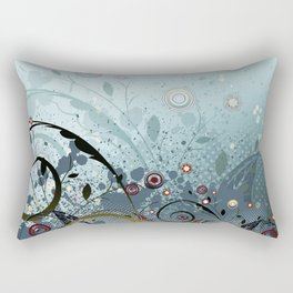 Blue Mystery Forest of Flowers and Tendrils Rectangular Pillow