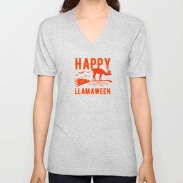 Happy Llamaween Llama Halloween Unisex V-Neck