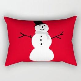 Christmas Snowman-Red Rectangular Pillow