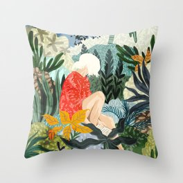 The Distracted Reader Throw Pillow