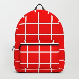 GRID DESIGN (WHITE-RED) Backpack