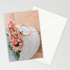 Pink Roses in a Basket Stationery Cards