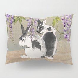 Two Rabbits Under Wisteria Tree Pillow Sham