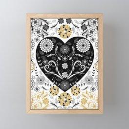Gold Black Flowers and Heart Deep Love Framed Mini Art Print
