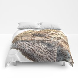 Chameleon With Sinister Facial Expression Isolated Comforters
