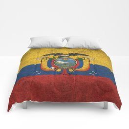 Old and Worn Distressed Vintage Flag of Ecuador Comforters