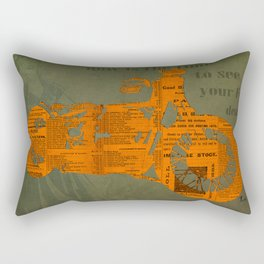 Orange and green abstract motorcycle, man cave decoration, gift for him Rectangular Pillow