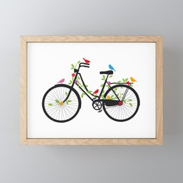 Old bicycle with birds Framed Mini Art Print