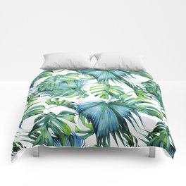Blue Jungle Leaves, Monstera, Palm #society6 Comforters