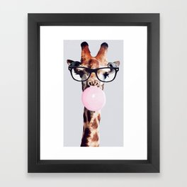 Giraffe wearing glasses blowing bubble gum Framed Art Print