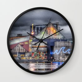 Baltimore Inner Harbor National Aquarium Skyline At Night Wall Clock