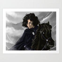 Riding in a greyish day Art Print