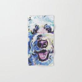 Golden Doodle Dog Portrait Pop Art painting by Lea Hand & Bath Towel