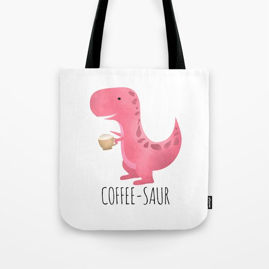 Coffee-saur | Pink Tote Bag