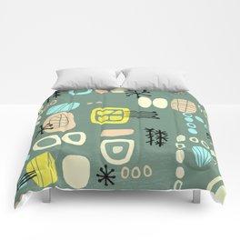 Mid Century Mod Digital Bark cloth Comforters