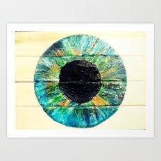 AQUA GREEN IRIS Art Print