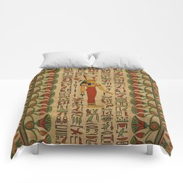 Egyptian Mut Ornament on papyrus Comforters