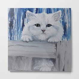 Fluffy cute white kitty, original oil painting by Luna Smith, LuArt Gallery Metal Print