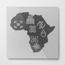 African Traditional Symbols and a map Metal Print