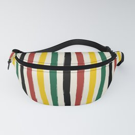 Rustic Lodge Cabana Stripes Black Red Yellow Green Fanny Pack