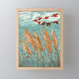 Geese Flying over Pampas Grass Framed Mini Art Print