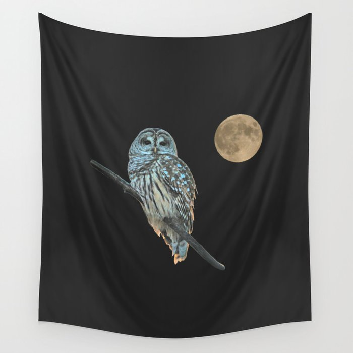 Owl, See the Moon (sq Barred Owl) Wall Tapestry