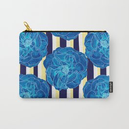 Blue Roses on Navy Stripes Carry-All Pouch