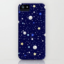 Universe pattern; Moon, Stars and Neptune iPhone Case