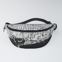 Barcelona city map black and white Fanny Pack