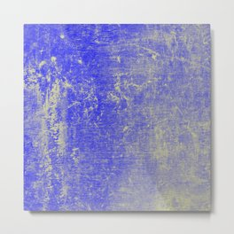 Vibrant Sky Blue & Gold Distressed Texture Metal Print