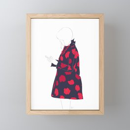 Red Flower Coat Fashion Girl Framed Mini Art Print